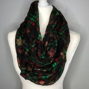 Accessories - Tartan Plaid with Gold Snowflakes Infinity Scarf